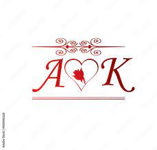 AK love initial with red heart and rose ...