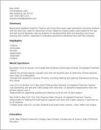 sample resume assistant preschool teacher resume sample resume for daycare teacher