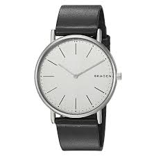skagen skw6419 signatur slim titanium and black leather watch tq diamonds