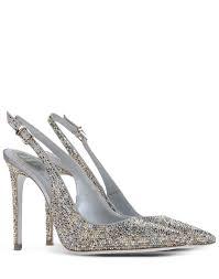 Shoe Designer Rene Caovilla Rene Caovilla Metallic Slingback Pumps In Silver Grey