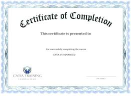 Certificate Of Training Completion Template Certificate Of Completion Template Free Liknes Co