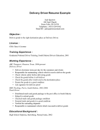 Delivery Driver Resume Objective Delivery Driver Resume Example