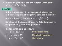 write an equation of the line tangent to the circle x 2 y