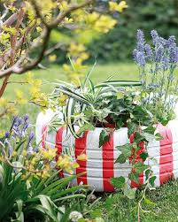 garden decoration. Diy Garden Decoration Tire Planter Red White Stripes