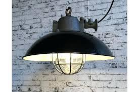 industrial cage pendant light black enamel and cast iron lamp kmart