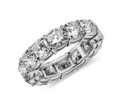 cushion cut diamond eternity ring in platinum 8 ct tw blue nile
