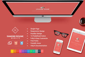 Responsive Html5 Diamond Resume Cv Website Templates Creative