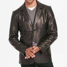 mens two on black leather blazer