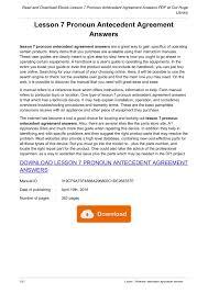 Pronoun Antecedent Agreement Lesson 7 Pronoun Antecedent Agreement Answers