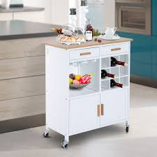 storage cabinet and wine rack white homcom rolling kitchen cart island portable serving utility trolley wood drawers