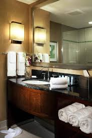 contemporary guest bathroom ideas. Bathroom:Stylish Guest Bathroom Design Idea With Large Mirror And Lacquered Wood Vanity Create Contemporary Ideas