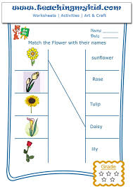printable kindergarten worksheets - Match flowers with name - 1