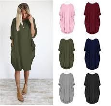 <b>Summer Women Pocket</b> Dresses <b>O Neck</b> Loose Long Sleeve Dress ...