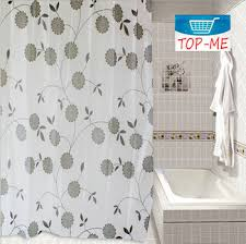 get ations 850 1 gray zen leaves fabric shower curtain contemporary black white decor polyester