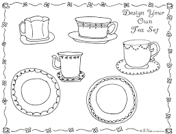 Small Picture Design your own tea set coloring sheet for a tea party from