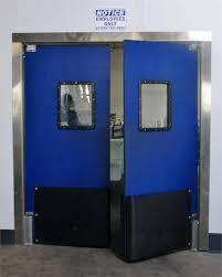 Double Swinging Kitchen Doors Traffic Doors For Supermarkets Impact Swing Door With Bumpers