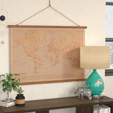 canvas printed world map wall hanging