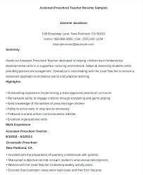 Head Start Teacher Assistant Sample Resume Interesting Child Care Director Job Description Resume Preschool For Teacher