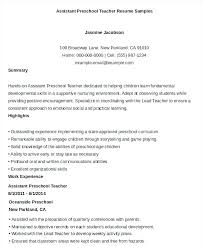 Child Care Director Job Description Resume Preschool For Teacher