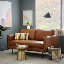 Stylish designs living room Furniture Brown Leather Fitting Loveseats Stylish Design Small Space Compact Ideas Living Room Decor Mathew Guiver Brown Leather Fitting Loveseats Stylish Design Small Space Compact