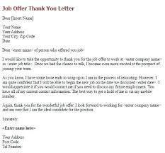 Job Offer Letter After Interview Thank You Email Sample Of For On