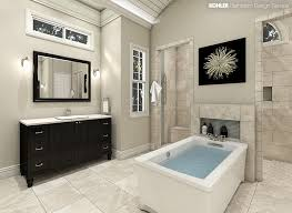plenty of light this spacious master bath allows for his and hers walk in showers and vanities plus a freestanding kohler archer bath under a
