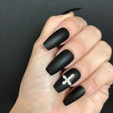 Black Coffin Shape Nail Designs Goth Long Coffin Nails In Matte Black With Crystal Cross