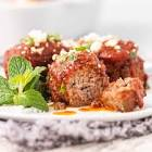meatballs in garlic  tomato and mint sauce