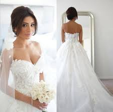 romantic a line sweetheart wedding dresses with 3d floral
