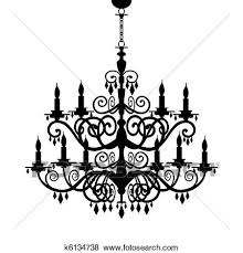 clip art baroque chandelier silhouette fotosearch search clipart ilration posters drawings