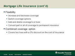 mortgage life insurance cont d