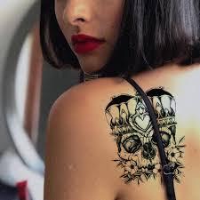 Kotbs 8 Sheets Temporary Tattoos Crown Skull Scythe Death Waterproof Temporary Tattoo Sticker For Women