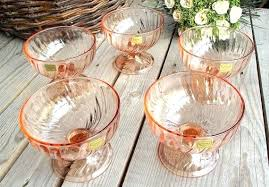 5 vintage pink glass dessert cups serving bowls made in sorbet french glassware with spoons glass dessert cups