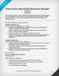 Data Entry Skills Resumes Resume Example For Data Entry Operator Clerical Position