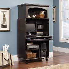 home office desk armoire. magic computer armoire for home office ideas in black with blue wall and desk