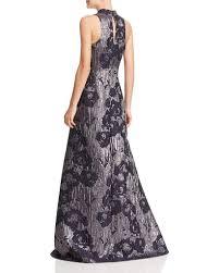 Aidan Mattox Md1e200784 Sleeveless Metallic Floral Print Gown