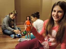 Image result for teenagers playing with barbies