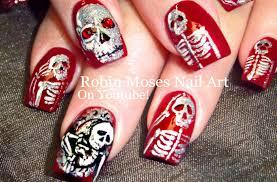 Halloween Nails | DIY Skeletons in a Mirror Nail Art Design ...