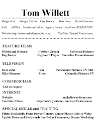 My Hollywood Star Resume Page 1