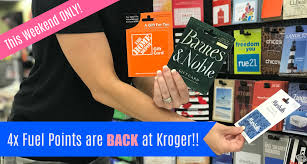 this weekend july 20 22 you can earn 4x fuel points on all gift cards at kroger just the coupon once and you can use it unlimited until
