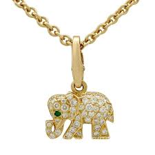 diamond elephant necklace cartier diamond and emerald yellow gold elephant pendant at 1stdibs