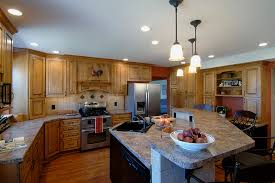 excellent custom ceramic tiles with pendant lighting next to work station and center island center island lighting