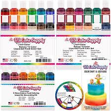 30 Color Primary Secondary Neon Us Cake Supply By Chefmaster Liqua Gel Paste Cake Color Set 0 7 Fl Oz 20ml Bottle