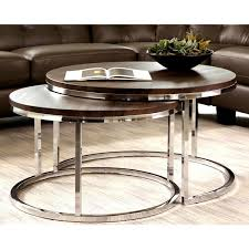 mergot modern chrome 2 piece cocktail round nesting table set incredible coffee tables for 18