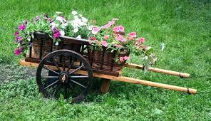 wooden wheelbarrow planter designs