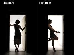 horror lighting. Two Photos Of A Woman Standing In Doorway, Labeled Figure 1 And 2. Horror Lighting