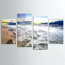 latest wall decor 4 panel modern art home decoration frame painting canvas prints pictures sea beach on beach framed canvas wall art with framed seashells coastal beach wall art wood pier on the beach