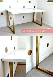 diy desk designs glossy white and golden desk with simplicity diy desk decor ideas