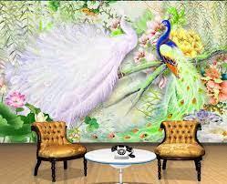 custom 3d wallpaper Peacock Lotus ...
