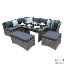 high back 6pc corner sofa dining rattan garden set natural tri weave